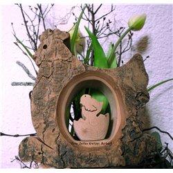 Henne mit Küken, ca. 15 x 14,5 x 3,5 cm,  Naturholz zum Austellen. Weihnachtsdeko